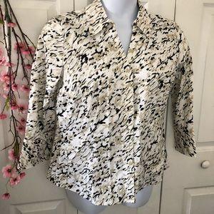 EUC Alfred Dunner Print Button Up Dress Shirt